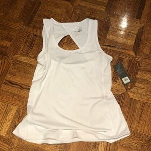 NWT White Open-Back Athletic Tank Top